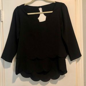 Black scalloped long sleeve top